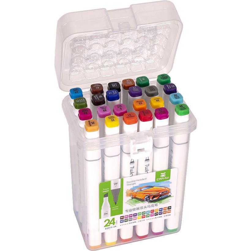 Набор двухсторонних скетч-маркеров для рисования 24 штуки