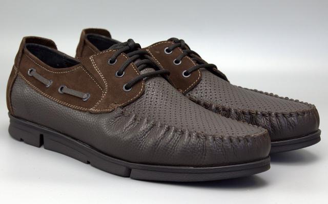 Коричневые летние топсайдеры кожа с перфорацией мужская обувь больших размеров Rosso Avangard TopS Brown BS