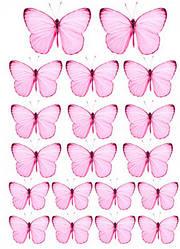 Вафельна картинка для кондитерских виробів, топерів, пряників, капкейків Метелики (листок А4) 21