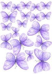 Вафельна картинка для кондитерских виробів, топерів, пряників, капкейків Метелики (листок А4) 22