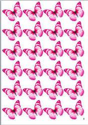 Вафельна картинка для кондитерских виробів, топерів, пряників, капкейків Метелики (листок А4) 25