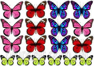 Вафельна картинка для кондитерских виробів, топерів, пряників, капкейків Метелики (листок А4) 30