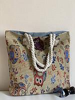 Тканевая пляжная молодежная сумка с рисунком Совы (канатные ручки) в Одессе, фото 1