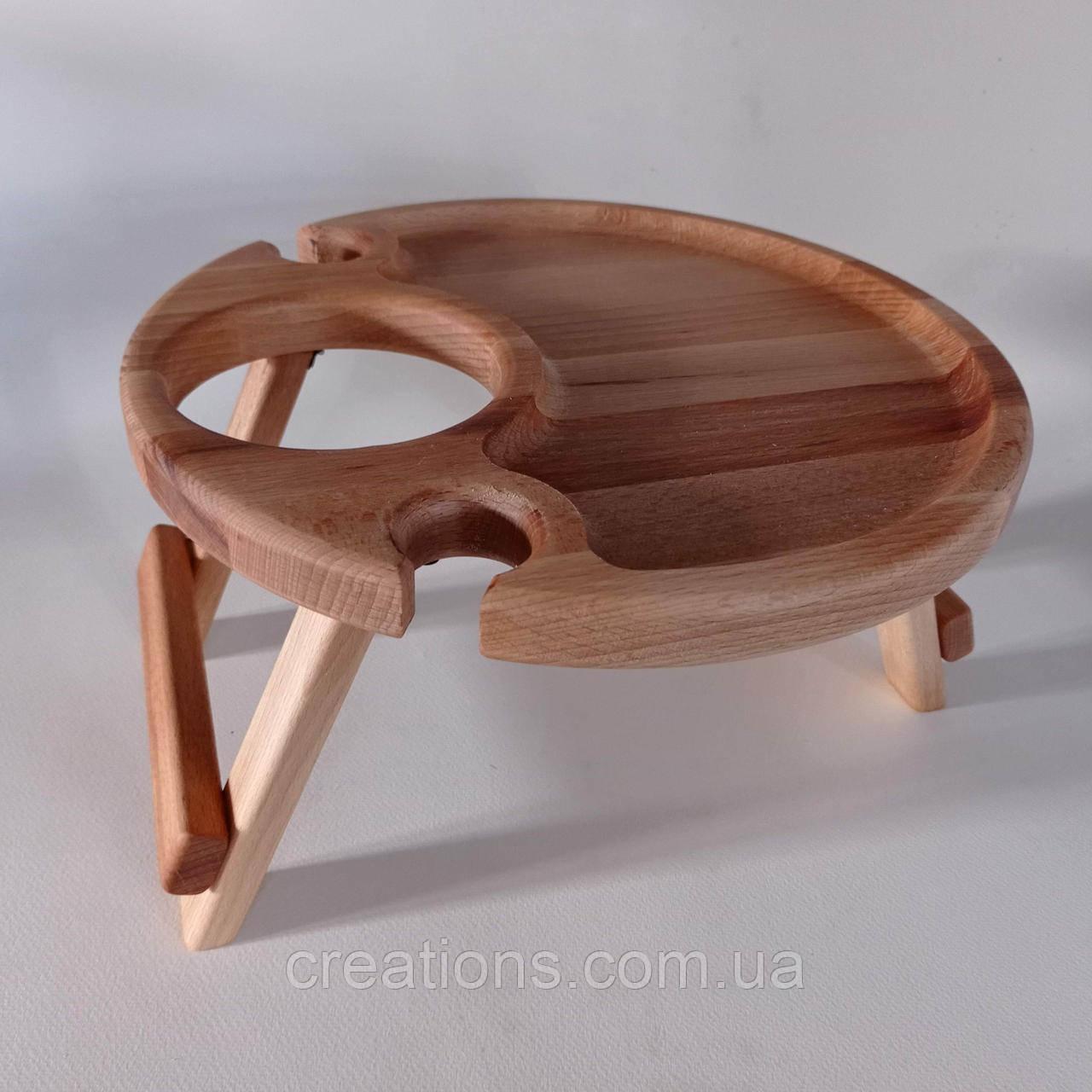 Дерев'яний винний столик 30*17, столик для подачі вина на два келихи