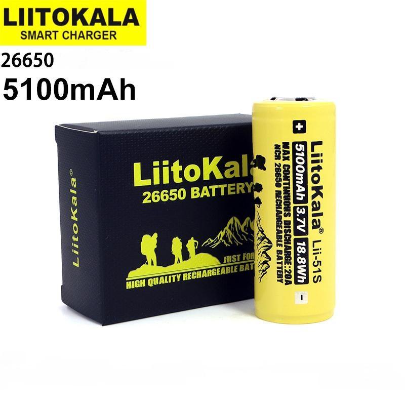 Оригинальный Аккумулятор LIITOKALA Lii-51S 26650 5100mAh 20A Li-Ion без эффекта памяти