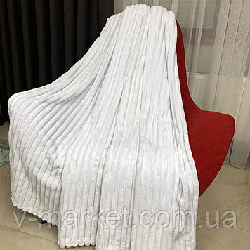 """Плед покривало білий смуга однотонний """"Шарпей"""" двоспальний розмір, 180/200 см"""