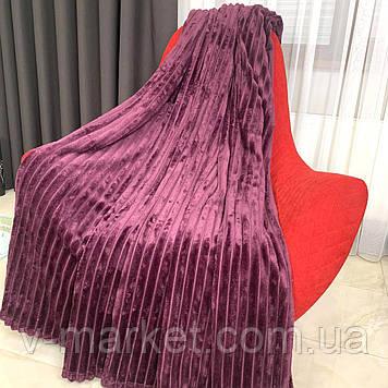 """Плед покрывало бордовый полоса однотонный """"Шарпей"""" двуспальный размер, 180/200 см"""
