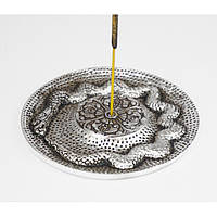 """Підставка для ароматичних паличок і конусних пахощів з білого металу """"Змія"""""""