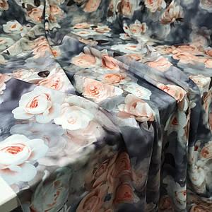 Ткань супер софт принт персиковые розы на сером