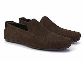 Мокасины на резинке коричневые нубук с перфорацией летняя мужская обувь Rosso Avangard Moccarez Brown Nub Perf