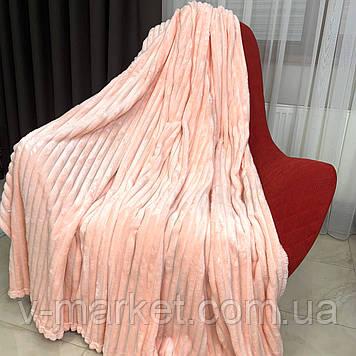 """Плед покривало персиковий смуга однотонний """"Шарпей"""" двоспальний розмір, 180/200 см"""
