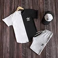 Мужской летний комплект футболка шорты, летний мужской спортивный костюм Adidas