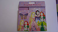 Детский набор для рисования Принцессы Princess цветные карандаши,блокнот,большая раскраска в картонной упаковк