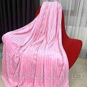 """Плед покрывало розовый полоса однотонный """"Шарпей"""" двуспальный размер, 180/200 см"""