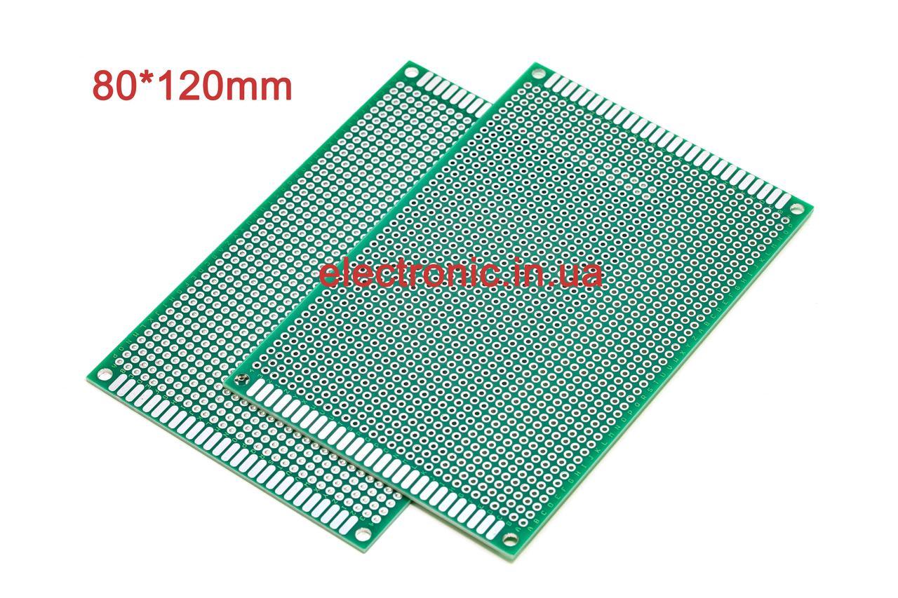 Макетна плата універсальна двостороння з металізацією 80 * 120 мм