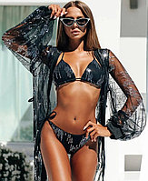 """Гламурный сексуальный черный раздельный женский пляжный купальник двойка в стразами """"Сандра"""" - S,M,L"""
