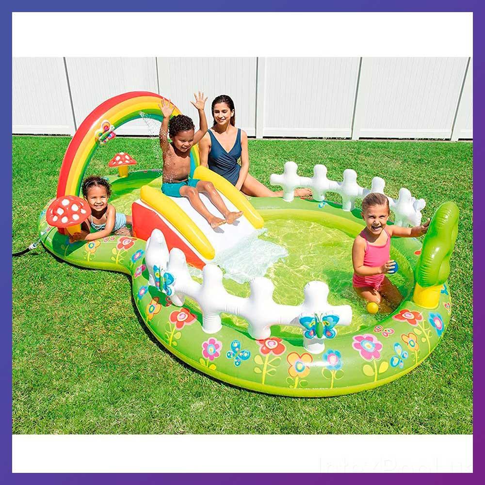 Детский надувной игровой центр с бассейном и горкой Intex 57154 Мой сад