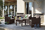 Комплект садових меблів Allibert by Keter Alabama Lounge Set Brown ( коричневий ) штучний ротанг, фото 2
