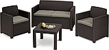 Комплект садових меблів Allibert by Keter Alabama Lounge Set Brown ( коричневий ) штучний ротанг, фото 7