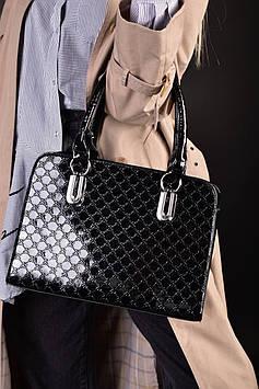 Женская черная лакированная сумка код 7-919
