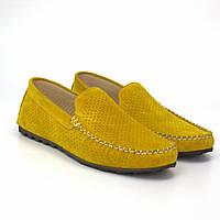 Желтые мужские мокасины замшевые с перфорацей летняя обувь большой размер Rosso Avangard 708 Alberto Lemon BS