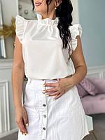 Стильная женская батальная летняя блуза с рюшами молоко