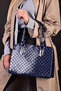Женская синяя лакированная сумка код 7-919