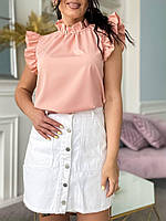Стильная женская батальная летняя блуза с рюшами абрикос