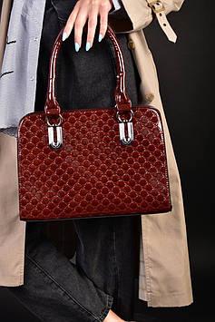 Женская бордовая лакированная сумка код 7-919