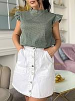 Стильная женская летняя блуза с рюшами в горошек батал