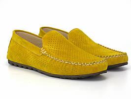 Желтые мужские мокасины замшевые с перфорацей летняя обувь Rosso Avangard 708 Alberto Lemon