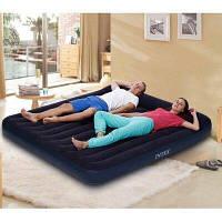Велюровый матрас 2 местный с подголовником Надувная велюровая кровать для сна и пляжа Intex 64144