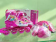 Комплект роликов 34-38 Scale для девочки, Дисней розовый