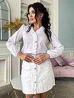 Модная блузка женская коттон батал белый