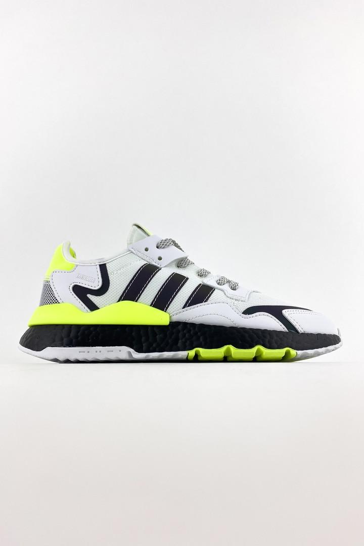Adidas Nite Jogger чоловічі літні білі кросівки на шнурках. Літні чоловічі текстильні кроси