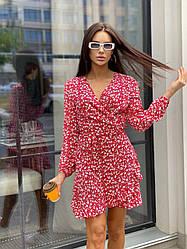 Платье женское в цветок ниже колен