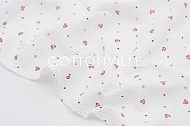 Муслин жатка Сердечки красные на белом 135 см