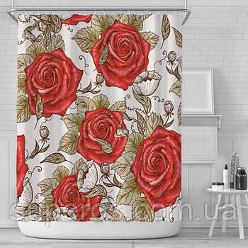 Тканинна шторка для ванни і душа 180х180 см Red roses