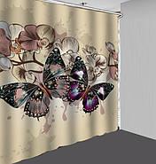 Тканинна шторка для ванни і душа 180х180 см Butterflies on beige, фото 2