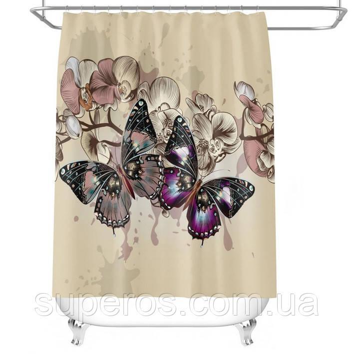 Тканинна шторка для ванни і душа 180х180 см Butterflies on beige