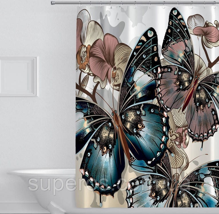 Тканинна шторка для ванни і душа 180х180 см Three butterflies