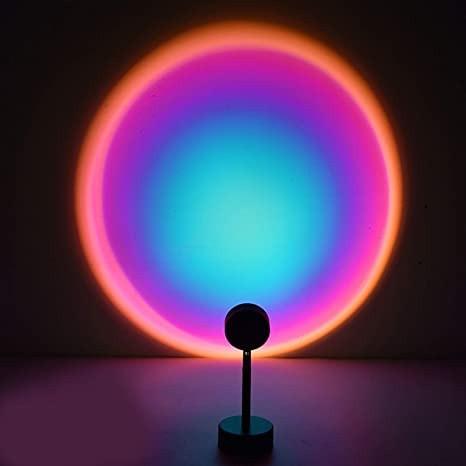 Проекционный светильник заката и рассвета Sunset Lamp Rainbow USB с пультом ДУ и поворотом