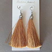 Сережки Кисті колір світло коричневий L - 8см колір металу сріблястий