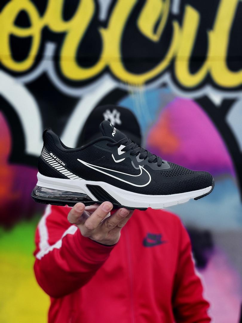Nike Zoom чоловічі літні чорні кросівки на шнурках. Літні чоловічі текстильні кроси