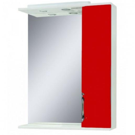 Дзеркало у ванну кімнату 55 см з шафкою Сансервис Laura ДЗ Laura-56 червоний R
