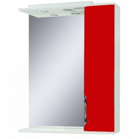 Дзеркало у ванну кімнату 55 см з шафкою Сансервис Laura ДЗ Laura-56 червоний R, фото 2