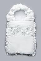 """Конверт на выписку зимний """"снежинки"""" белый и серебряный Модный карапуз"""