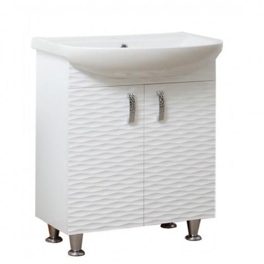 Тумба с раковиной в ванную 65 см с 3д декором Сансервис 3D 3D - Aкцент 65 Белый