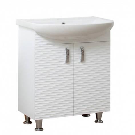 Тумба с раковиной в ванную 65 см с 3д декором Сансервис 3D 3D - Aкцент 65 Белый, фото 2