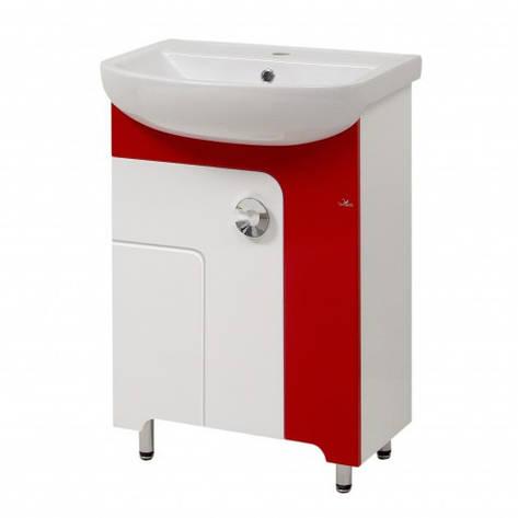 Тумба з раковиною в ванну 55 см в стилі мінімалізм Сансервис ELIZA ТН Eliza ARTECO 55 червоний, фото 2